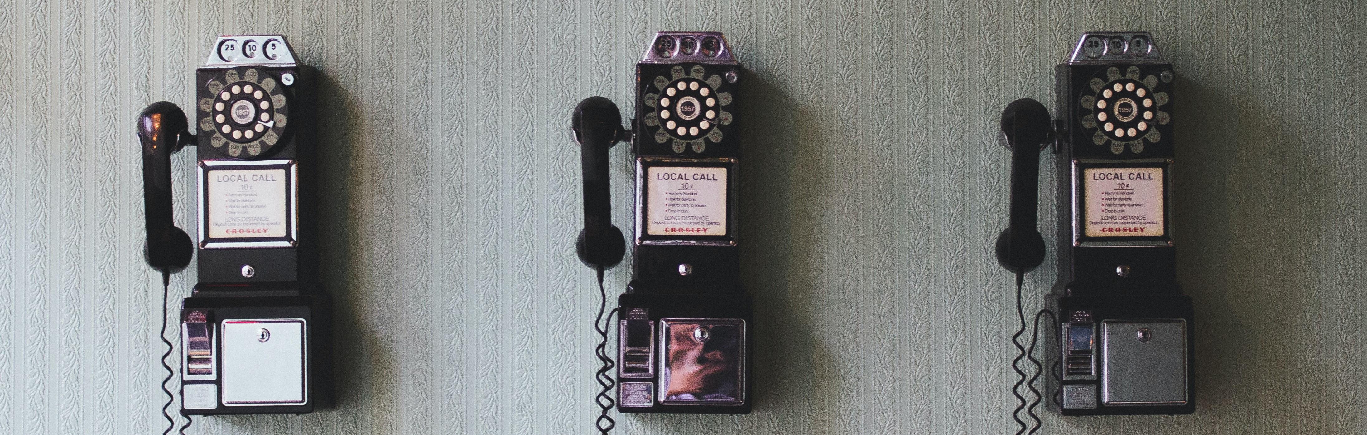 Row of old telephones